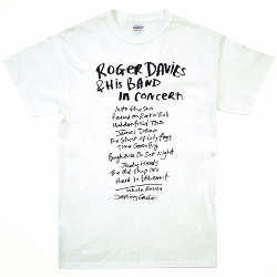 Roger Davies set list T-shirt