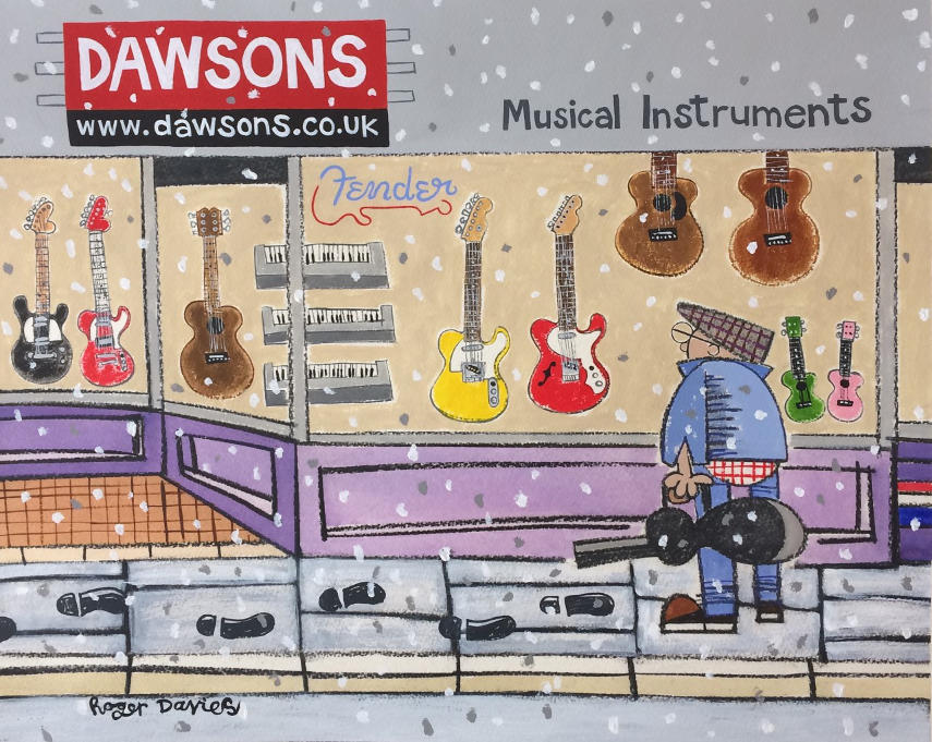 Eyeing up a Yellow Telecaster at Dawsons in Winter