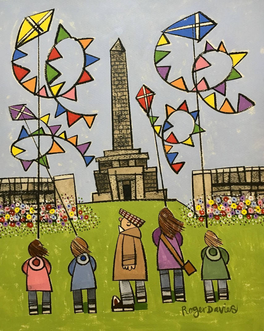 Flying Kites Up Stoodley Pike In Summer